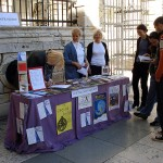 Croatia. Information booth in a square in Zadar (Croatia) for World Philosophy Day.